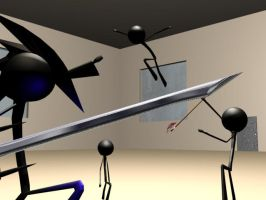 3-D stick fight by Theghost129