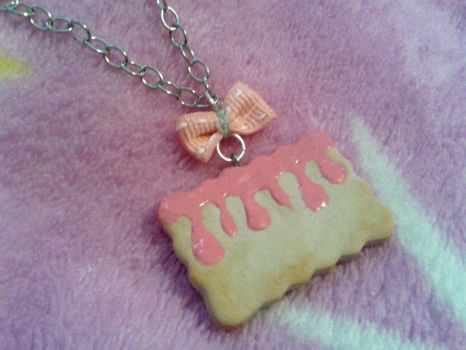 Strawberry Cookie Necklace by GlompMonster