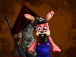 Pyramid head and robbie the rabbit by Callmechrist