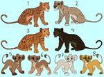 Leopard and Lion adoptables by HydraCarina