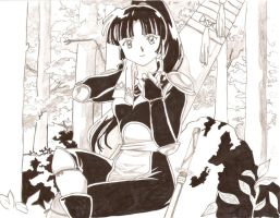 Sango resting after battle by Cmmv