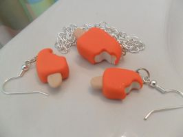 Creamsicle jewelry set by cobalt-bow