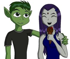 Beast Boy and Raven icecream by MustardDrunkStarfire