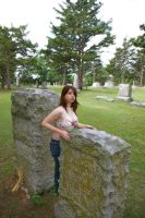 Wearing Bra in Cemetery by candhphotography