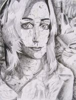 Self portrait drawing collage by Naerko