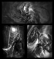 God of War PSP marketing rough by andyparkart