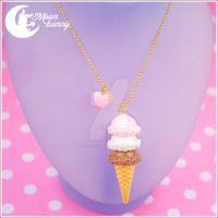 Ice-cream dream (chocolate) Necklace by CuteMoonbunny