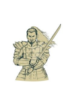 Samurai Warrior Swordfight Stance Drawing by apatrimonio