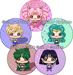 Outer Senshi plus Chibi Moon Hoshibebi Buttons by NekoAthena