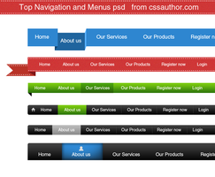 Download Free Top Navigation and Menus PSD by cssauthor