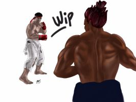 Ryu vs Akuma Street Fighter by ganubis
