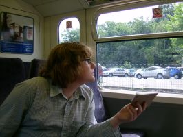 Portrait on a Train by ahdser