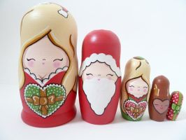 Christmas themed Russian Dolls 2 by ponychops