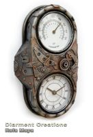Steampunk Clock an Thermometer by Diarment