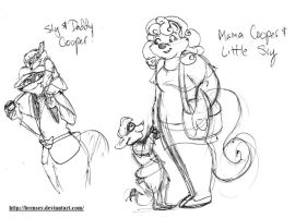 Little Sly Cooper and his parents by brensey