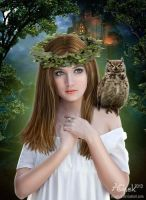 Girl With Owl by AliaChek