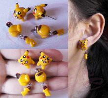 Pikachu earrings by LayzeMichelle