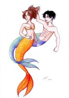 Mermaid AU Levihan by Rarasmilekiller