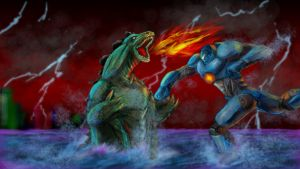 Godzilla Vs Gypsy Danger by goldenmurals