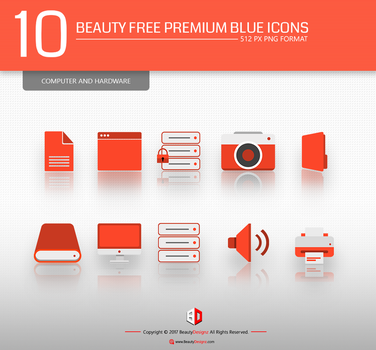 10 Beauty Free Premium Red Icons set by BeautyDesignz