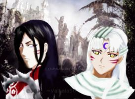 Sesshomaru and Byakuya by Valhala90
