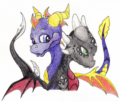 Spyro and Cynder by Bordeaux42390