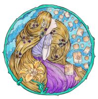 Disney: Rapunzel Art Nouveau White Background by kimberly-castello