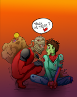 Spideypool - Halloween by ilcielocapovolto