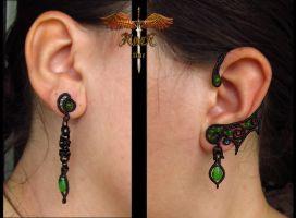 Black and green earrings by alina-loreley