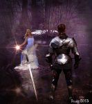Lady of the Lake and King Arthur by Julianez