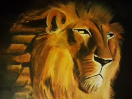 Lion Oil Painting by KaptainMyke