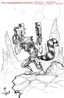 Rocket Raccoon INKS - AUG 1 2014 ART JAM by JeremiahLambertArt