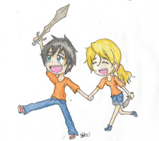 Contest Prize - Chibi Percy and Annabeth by girlsrl