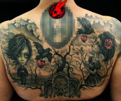 Toon Hertz Back Tattoo by Jackie Rabbit by jackierabbit12