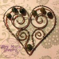 Wire Mossy Heart by WireMoonJewelry