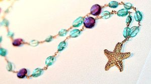 Apatite and Amethyst Starfish Gold Necklace by Maireada