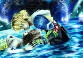 Yuna and Tidus at Macalania by Tsukishibara