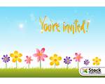 Flower Invitation Background Vector Free by Stockgraphicdesigns