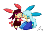 Ruby and Sapphire / Plusle and Minun by AisforInterval