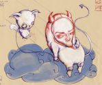 Devil with dog on cloud by Artjunk