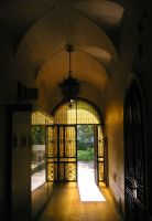 yellow glass door by welder-stock