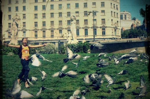 Kid chasing doves by Mariadreamer