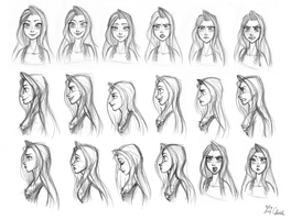 Original-Golden Heart Swana facial model sheet by ChiehChen