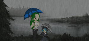 Walking in the rain (colored) by ShadowMark158