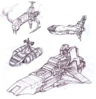 Space ships sketches by yeraymuaddib