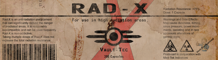 RAD-X Label from Fallout by Dispater0703