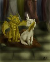 Dragon and unicorn by SandraMJ