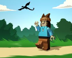 Lego Rooke is off on Lego adventures by DragonwolfRooke