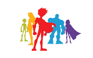 Teen Titans Silhouettes - White by EchoLeader