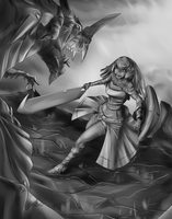 Girl + Dragon update shaded by NoirSoldat